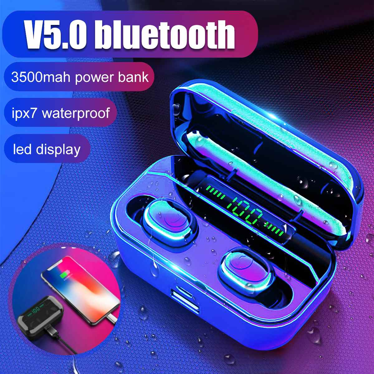 Bluetooth 5.0 Earphones G6s LED Display TWS Wireless Stereo Earbud IPX7 Waterproof Sports Headset With 2200/3500mAh Charging Box