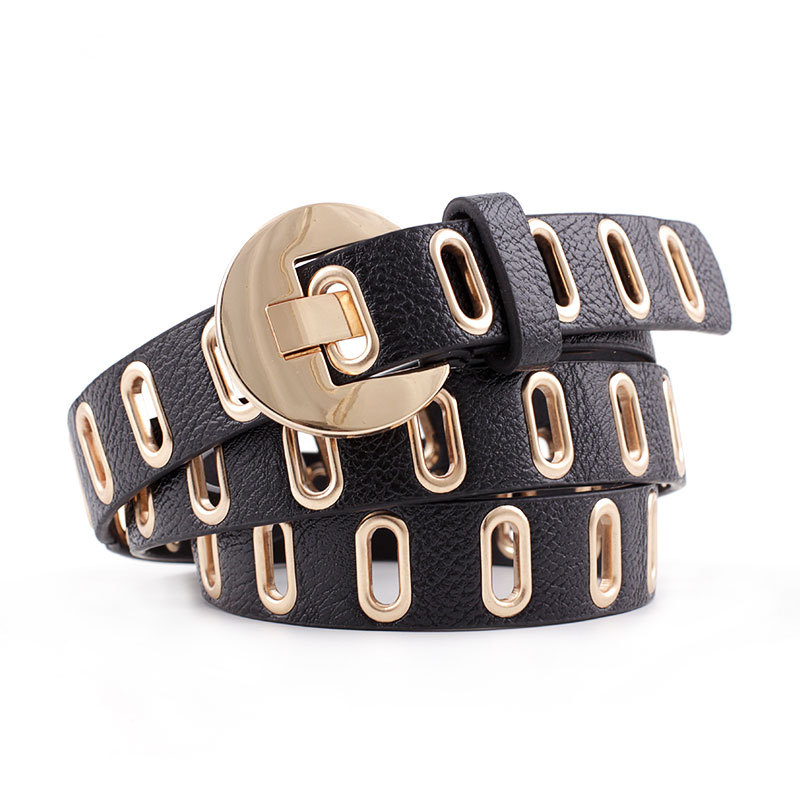 New Punk Rock Black Brown Pink White Wide Leather Belt Waistband Ladies Gold Grommet Pin Buckle Belts For Women Cinto Feminino