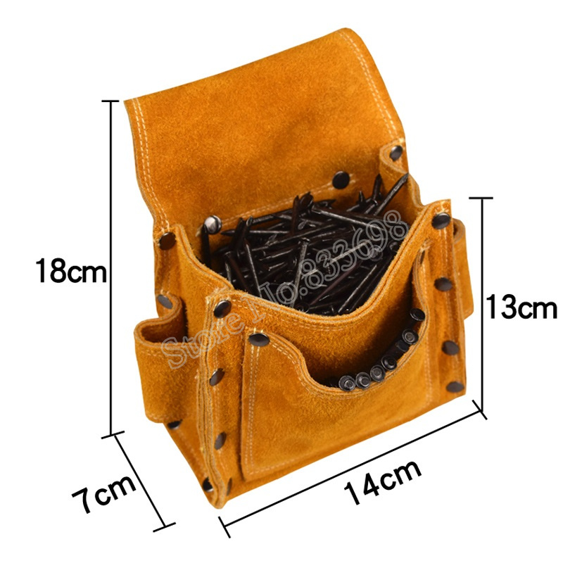 Image 5 - Cowhide Wearable Waist Pack Electric Drill Bag Screws Nails Drill Bit Metal Parts Fishing Travel Tool Storage Bags with BeltTool Bags   -