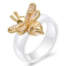 2019 new bee ceramic ring fashion European and American explosion models ladies diamond