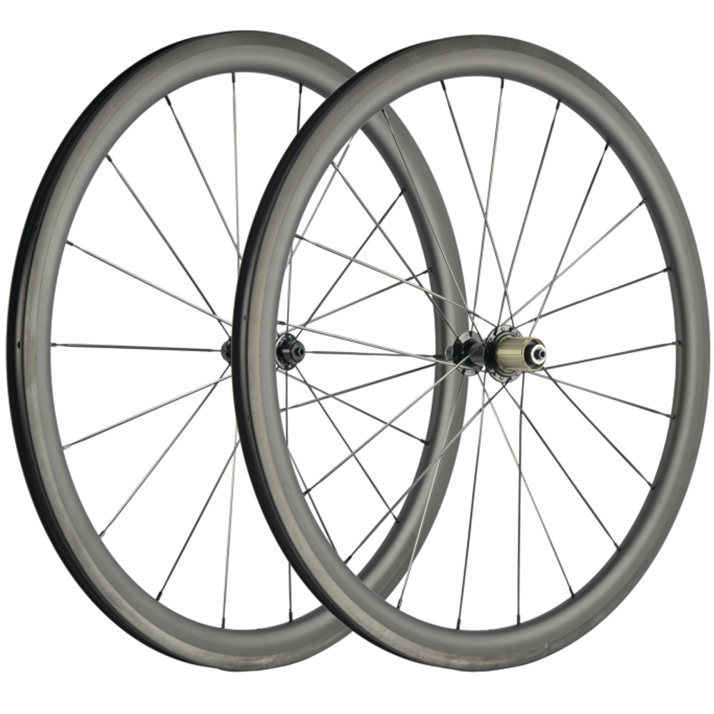 Clincher Carbon Bicycle Wheelset 40mm Road Bike Wheels UD Matte 700C 25mm Width
