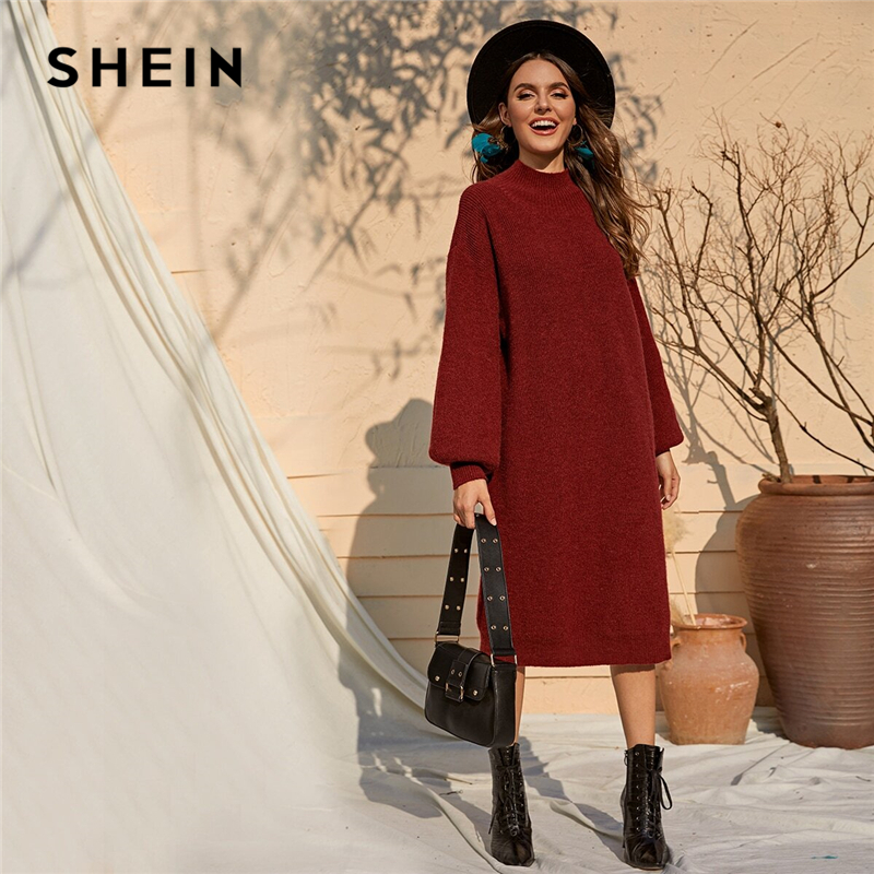 SHEIN Burgundy Solid Stand Collar Casual Tunic Sweater Dress Women Autumn Bishop Sleeve Ladies Straight Midi Winter Dresses 1