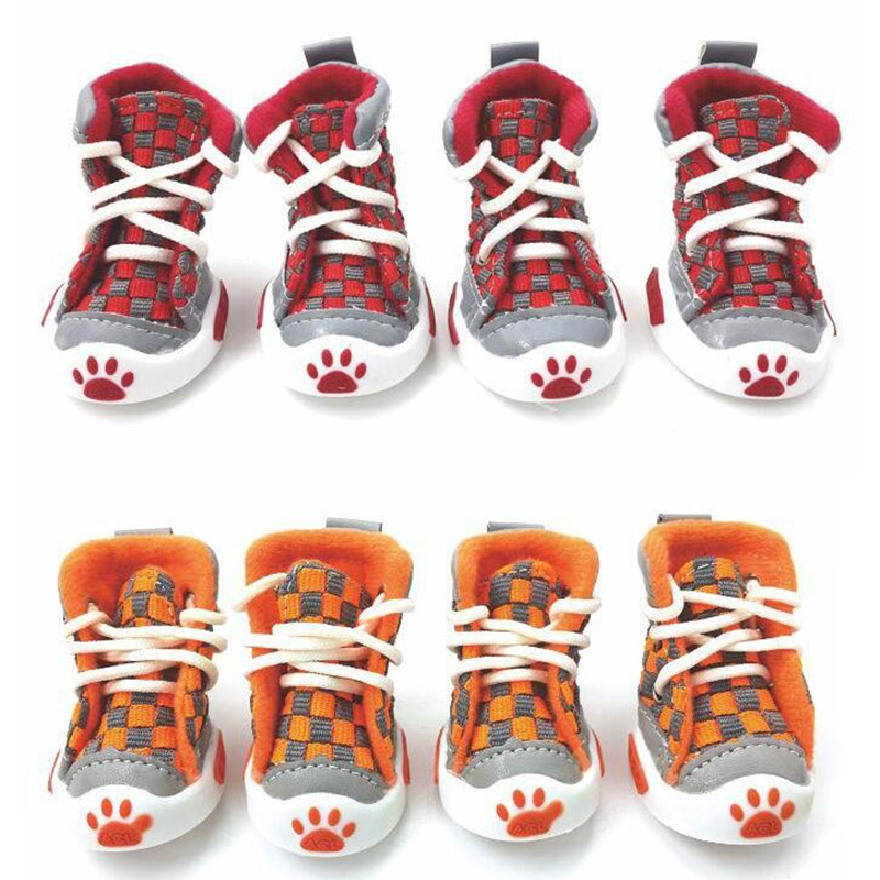 New Design 4pcs/Set Pet Dog Shoes Small Dog Puppy Boots Football Style Cheap Dog Summer Shoes For Small Pets Four Colors