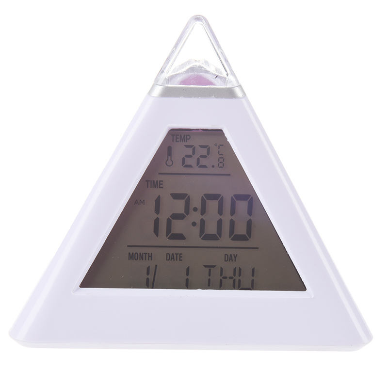 Pyramid Digital Alarm Clock With Color Changing Night Light