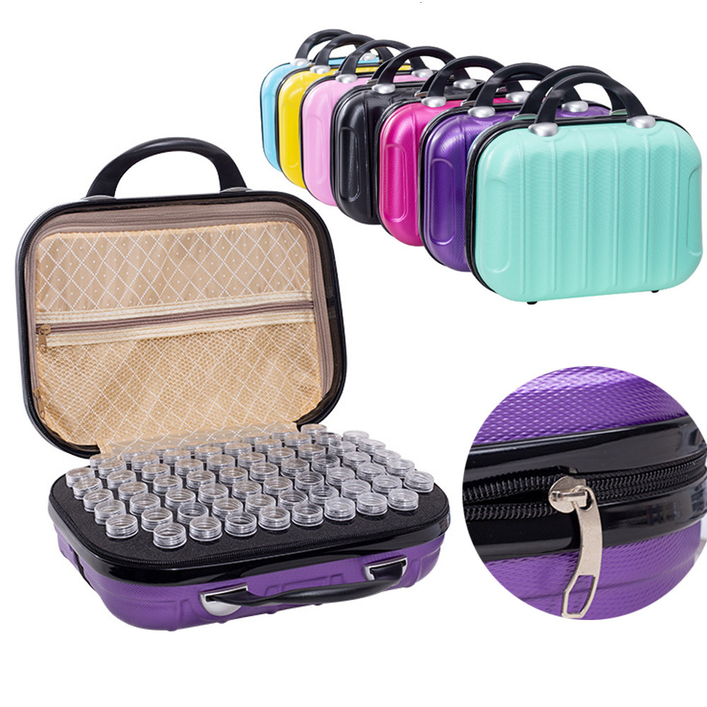 Hardshell Bead Sewing Pills Container Box Embroidery Organizer Bag for DIY 5D Diamond Art Craft Accessorries Toolly 132 Bottles Diamond Painting Storage Carring Case Black