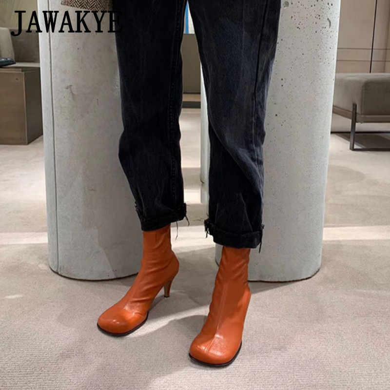 Nuevas botas cortas con tacón de gatito negro de Botines de Cuero y punta cuadrada para mujer, botas cortas de Otoño de tacón alto de color naranja, botas de vaquero ajustadas, zapatos de fiesta