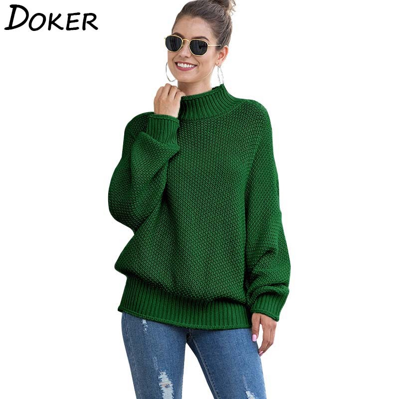 Turtleneck Women Sweaters And Pullovers Autumn Winter New Long Sleeve Warm Knitted Sweater Jumper Loose Vintage Pullover Female