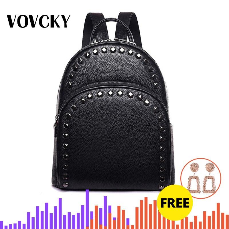 Genuine Leather Backpack Women Real Leather Rivet Backpacks Shoulder Bag Anti Theft Travel Luxury Back Pack For College 2019