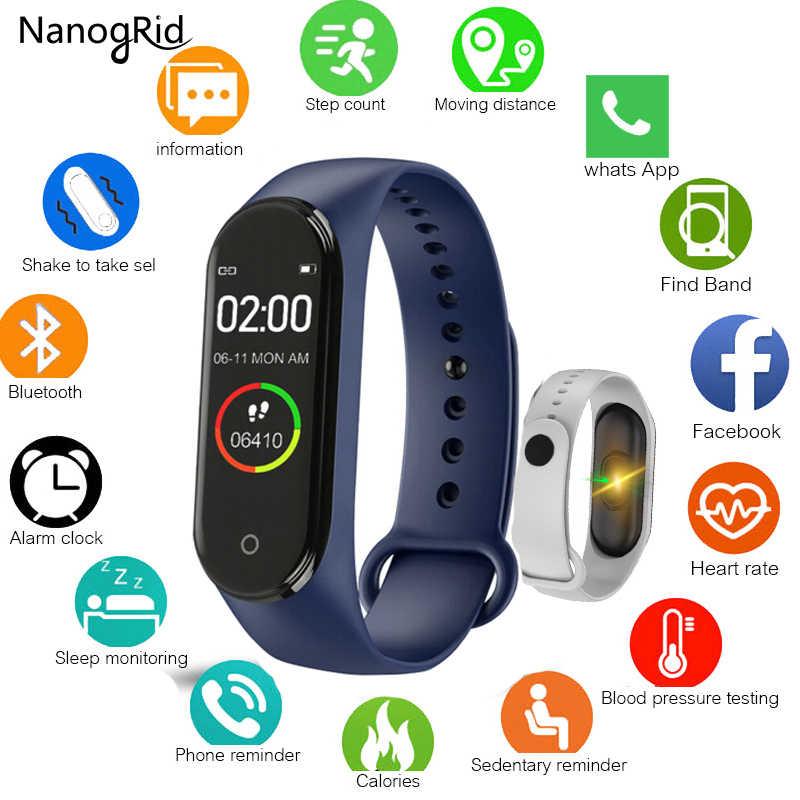 M4 pulseira inteligente rastreador de fitness relógio inteligente saúde banda freqüência cardíaca pressão arterial à prova dwaterproof água pulseira para homem mulher smartband