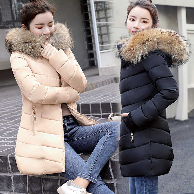 Coat Warm Outwear Jackets Fur-Collar Womens Winter Hood Raccoon Fake And Long