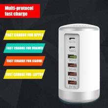 65W Multi 6 Port USBC Fast Charger HUB Quick Charge QC 3.0 Type C PD Charger USB Charging Station cargador portable charger
