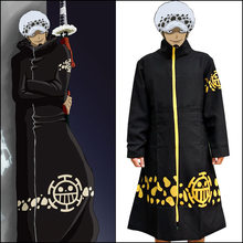 Hot Anime Black Cloak ONE PIECE Trafalgar Law Cosplay Costumes Plus Zipper Robe Coat Men Long Man Coat Collection High Quality(China)