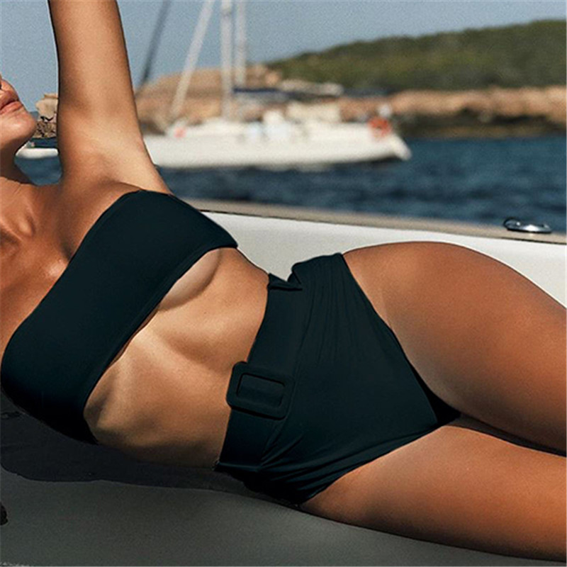 High waist Brazilian neon bikini 2020 Belt swimwear women Bandeau swimsuit female Push up bathing suit Summer bathers biquini 5