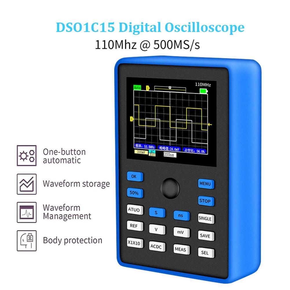 Dso 1c15 osciloscópio digital profissional 500 ms/s taxa de amostragem 110mhz suporte de largura de banda analógica armazenamento de forma de onda