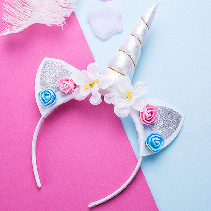 Cute Kids Fashion Headband Women Sweet Flower Unicorn Horn HairBand Birthday Party Flower Floral Crown hair accessories   Headwear