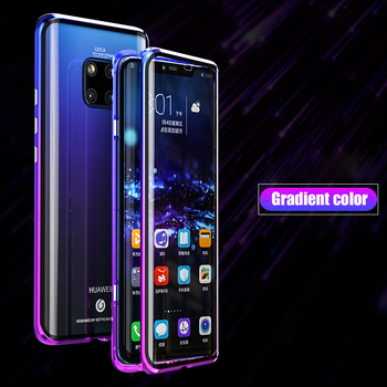 Frontal E Traseira De Vidro Caso Magnetic Para Huawei Companheiro 20 Pro Caso 360 Transparente Claro Capa Dura Huawei Companheiro 20Pro caso Mate20Pro