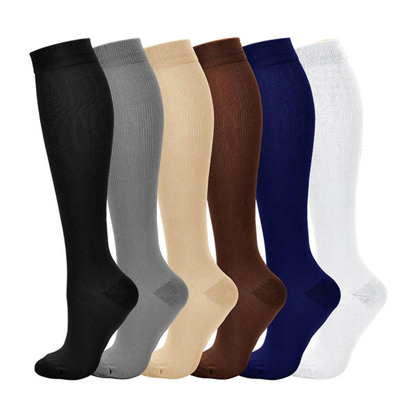 Women Nylon Solid Color Pressure Compression Varicose Vein Leg Relief Pain Knee High Support Long Sockings 2019 Hot Sale
