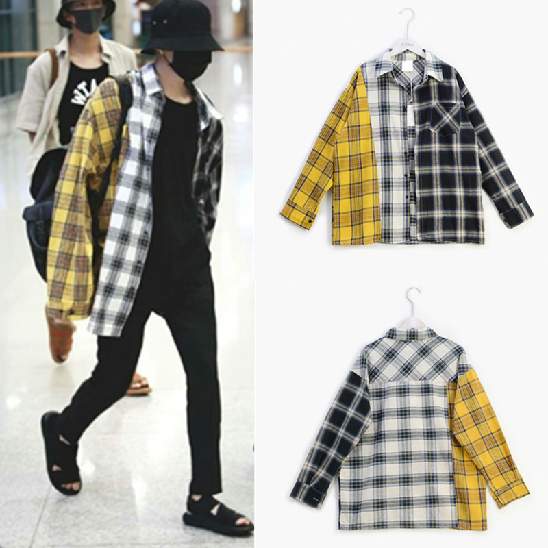 Kpop EXO GOT7 Jin Suga Same Korean Spell Color Plaid Shirt Shirt Sweatshirts K-pop Spring Autumn Harajuku Yellow Hoodie Coat