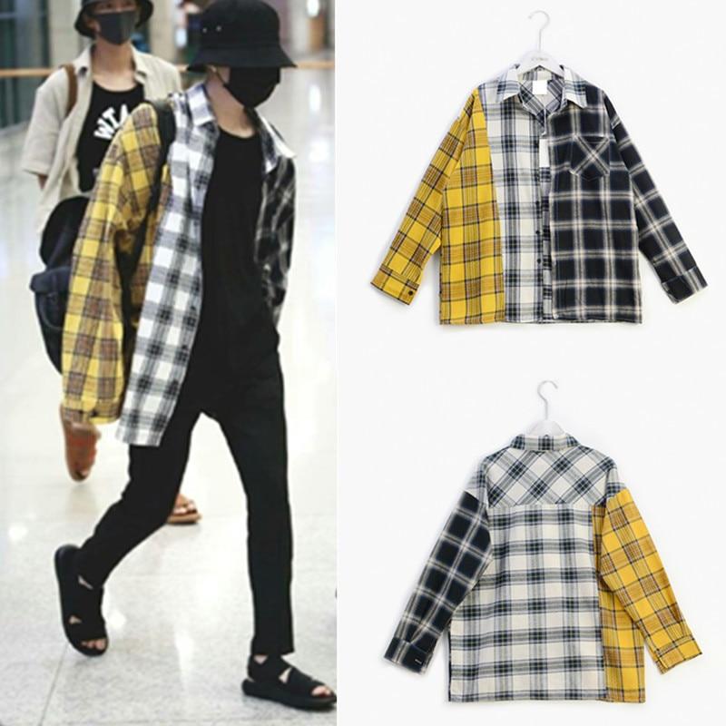 Kpop EXO GOT7 Jin Suga Same Korean Spell Color Plaid Shirt Shirt Sweatshirts K-pop Spring Autumn Harajuku Yellow Hoodie Coat