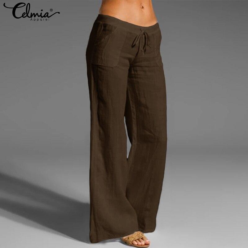 Women Vintage Linen Pants Long Palazzo 2020 Celmia Casual Loose Wide Leg Pants Elastic Waist Trousers Plus Size Pantalon Femme