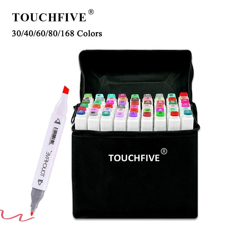 TouchFIVE-kolorowe markery, wiele kolorów, 30/40/60/80/168, do rysowania mangi, mazaki na bazie alkoholu, do szkicowania, olejowe, artykuły plastyczne, podwójny pędzel