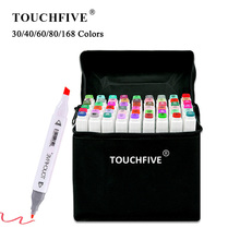 TouchFIVE-펜 트윈 브러쉬 아트 용품, 30/40/60/80/168 컬러 마커 만화 드로잉 마커 알코올 기반 스케치 펠트 팁 유성
