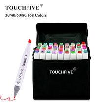 Touchfive-Conjunto de canetas marcadoras de texto, marcadores para desenho de mangá, canetinha de ilustração à base de álcool, ponta dupla de feltro, suprimentos artístico