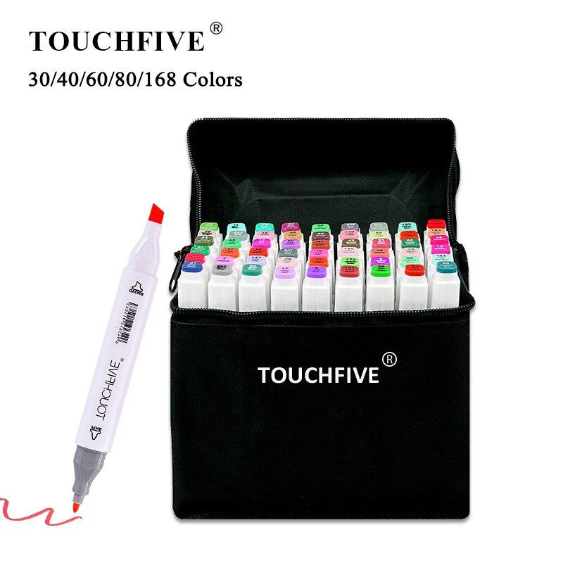 TouchFIVE 30/40/60/80/168 цветные маркеры набор манга маркеры для рисования ручка на спиртовой основе эскиз фетровый наконечник двойная Кисть ручка товары для рукоделия