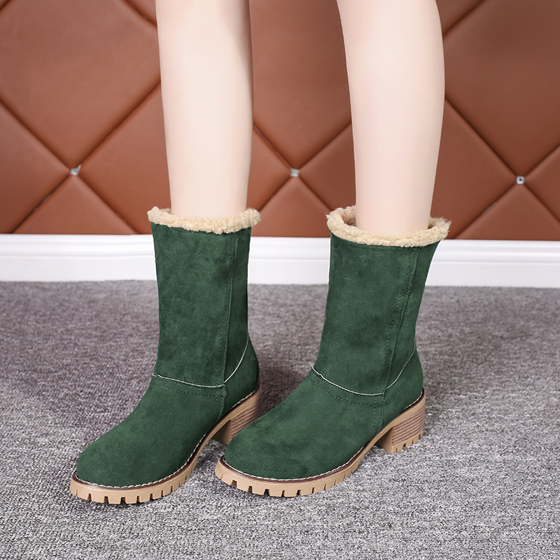 Image 5 - Cheap Sale 2019 Winter Women Fashion Ankle Boots Flock High Heel Short Booties For Ladies Big Size 43 Woman Botas Fur Warm Shoes-in Ankle Boots from Shoes
