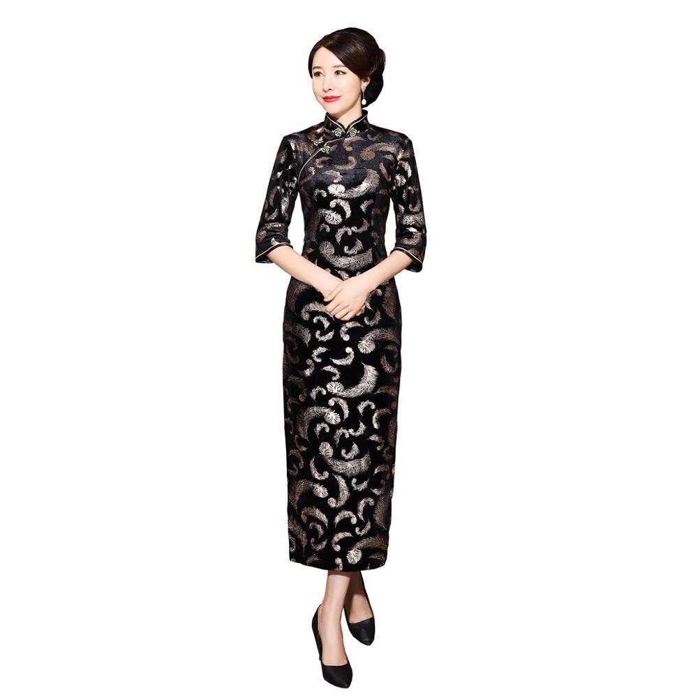 Shanghai Story Cheap Velvet Cheongsam Chinese Dress Embroidery Qipao Long For Women