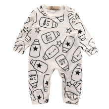 Long sleeve Milk Bottle Print One piece Baby Rompers For