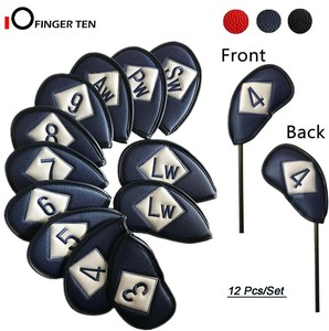 10/12 Pcs Double Sided Universal Leather Golf Club Head Covers Irons Fit Main Iron Clubs Both Left and Right Handed Golfer