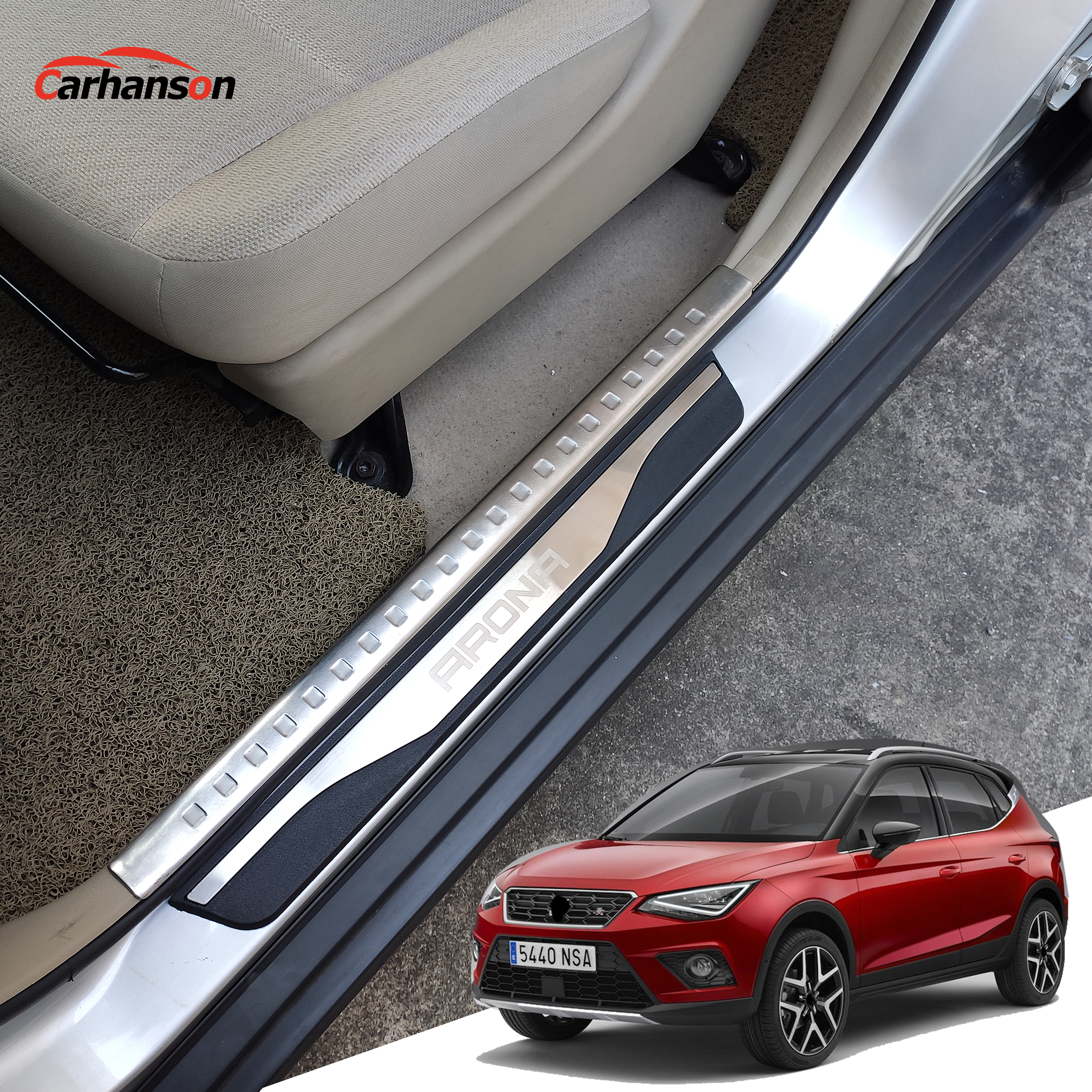 Para asiento ARONA FR accesorios adhesivos de coche tira de umbral de puerta placas de cubierta de coche protectores de acero inoxidable protectores estilo 2017-2020