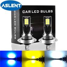 Aslent 2 pçs h11 h8 led carro nevoeiro lâmpadas h9 hb3 9005 9006 h7 h4 10w 2000lm 6000k branco 3000k amarelo 8000k azul luz de nevoeiro