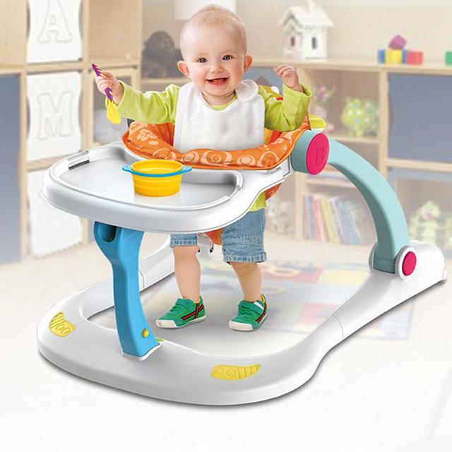 Baby Walker Toys 4-in-1 Toddler Trolley Children Multi-function Anti-rollover Adjustable Height Sit-to-Stand Musical Walker 1