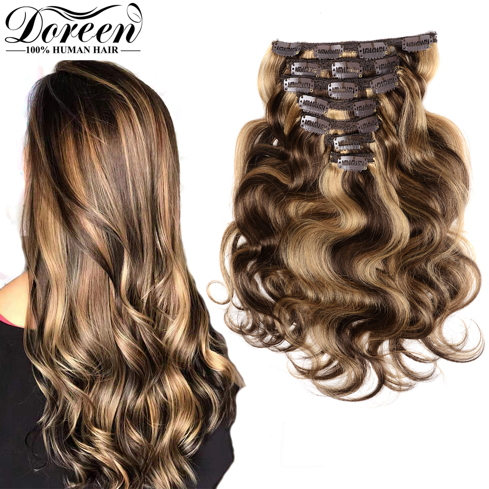 Doreen 240g 260g 280g Natural Human Hair Clip In Extensions Machine Made Remy Brazilian Hair Caramel Color Wavy Clip Ins