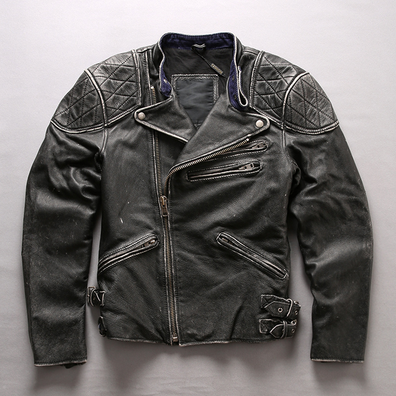 Fashion Skulls Genuine Men Vintage Black Motorcycle Biker Cowskin Punk Slim Fit Real Leather Jacket
