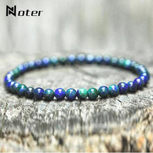 Noter Minimalist 4mm Small Beads Bracelet For Men Women Natural Opal Tiger eye Obsidian Malachite Stone Braslet Hand Jewelry(China)