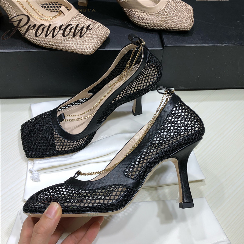 Prowow Runway Genuine Leather Breathable Mesh Gold Chain Summer Pumps Square Toe Slip On HIgh Heel Pumps Shoes High Quality