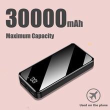 Внешний аккумулятор 30000 мАч, внешний аккумулятор, 2 USB, светодиодный, PoverBank, type-c, портативное зарядное устройство для телефона Apple, Xiaomi