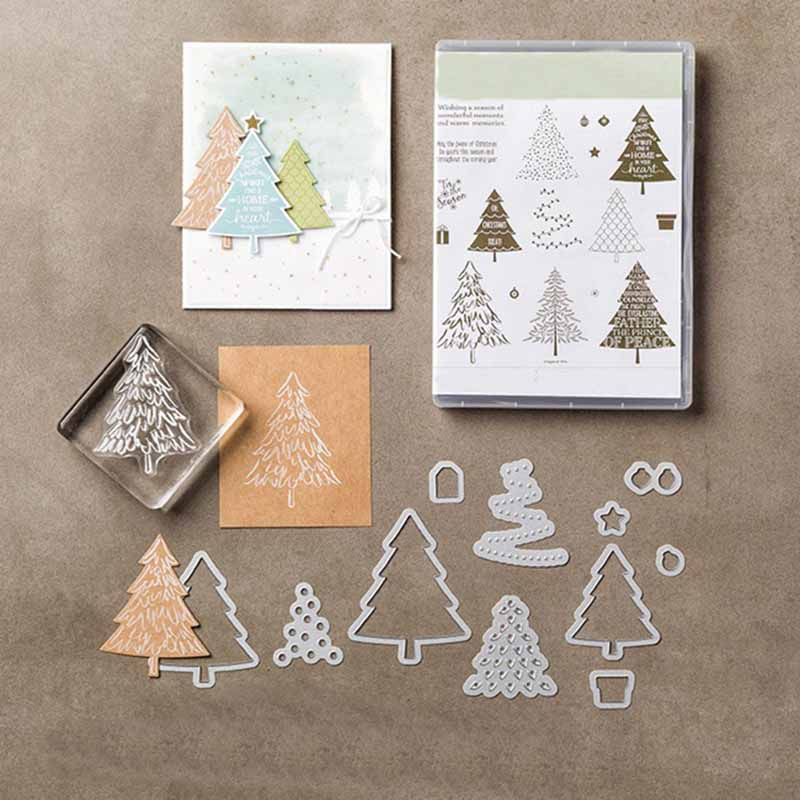Rubber Stamps and Metal <font><b>Cutting</b></font> <font><b>Dies</b></font> <font><b>Merry</b></font> <font><b>Christmas</b></font> Tree Scrapbook Decoration Craft Stencil Card Make Album Sheet Model <font><b>Die</b></font> Cut image