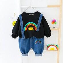 Clothing-Sets Jeans T-Shirt Rainbow Toddler Baby-Girls Boys Children Bib Spring HYLKIDHUOSE