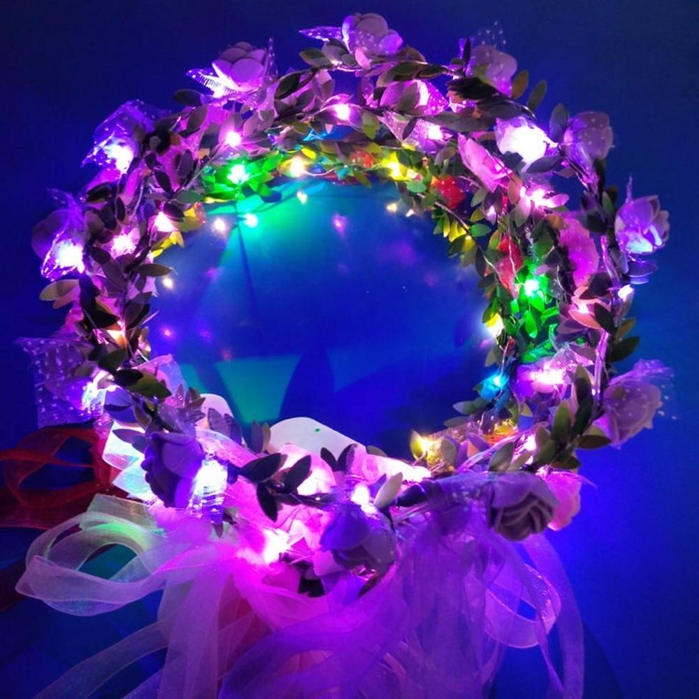 LED Flower Headband Garland Headband Wedding Flower Crown With Ribbon