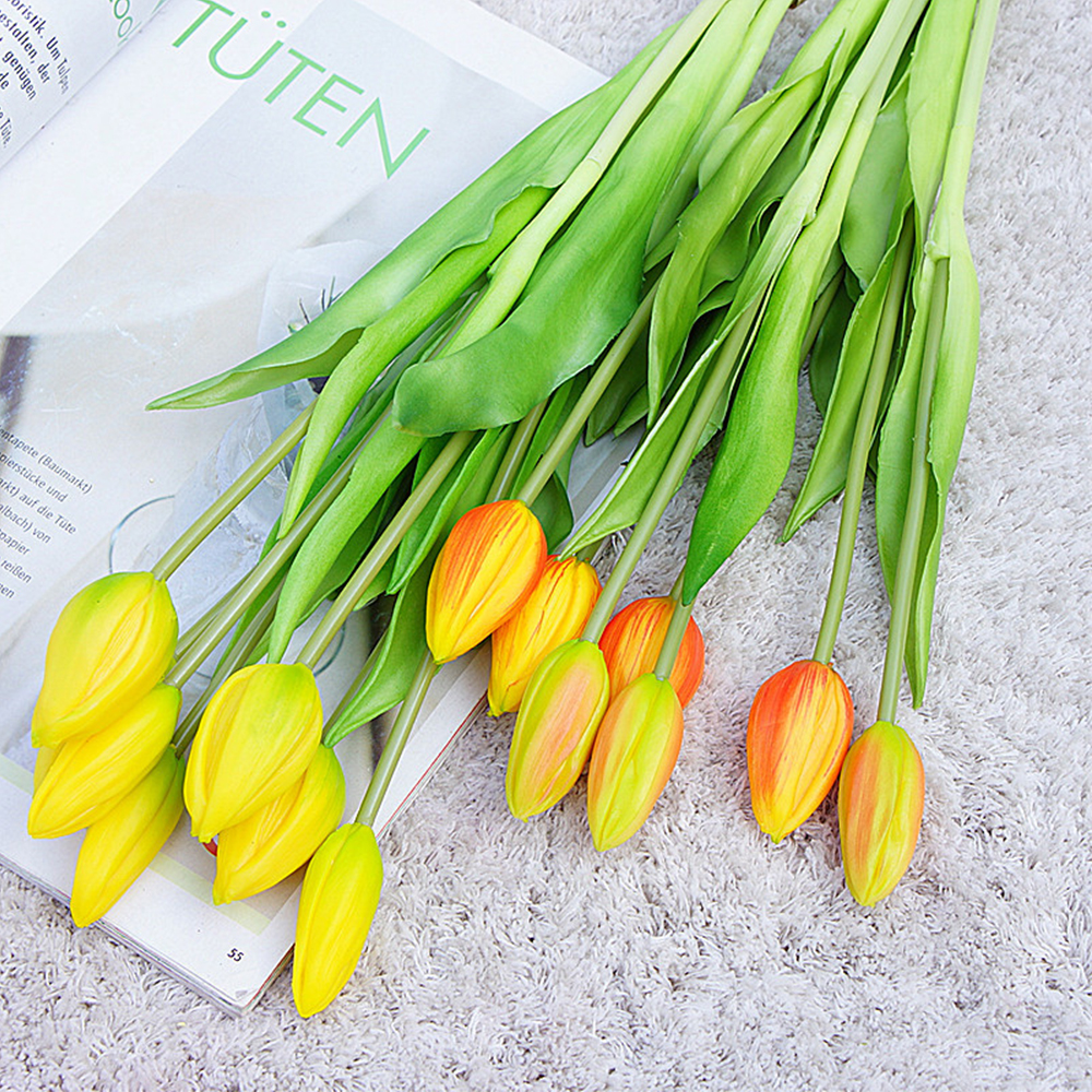 7Pcs Tulips Artificial Flowers For Home Wedding Decoration Fake Bride Hand Flowers Real Touch Soft Silicone Tulip flores 2