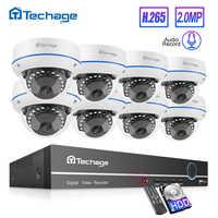 Kit de NVR Poe Techage H.265 8CH 1080P sistema de seguridad CCTV para el hogar 2MP Audio Domo interior cámara IP videovigilancia Set 2TB HDD