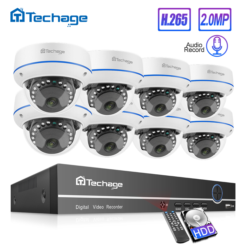 Techage H.265 8CH 1080P POE NVR Kit CCTV Home Security System 2MP Audio Indoor Dome IP Camera Video Surveillance Set 2TB HDD