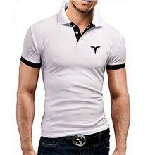 Tesla logotipo masculino gola de manga curta negócios casual algodão polo camisa moda multicolorido fino ajuste