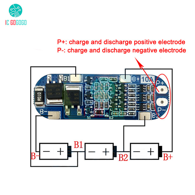 3S 10A 11.1V 12V 12.6V Lithium Battery Charger Protection Board Module for 18650 Li ion Lipo Battery Cells BMS 3.7V