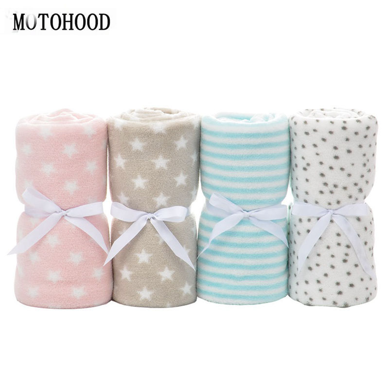 MOTOHOOD Baby Blankets Newborn Fashion Striped Star Swaddle Baby Bath Blankets Muslin Infant Baby Blankets  For Kids 75*100cm