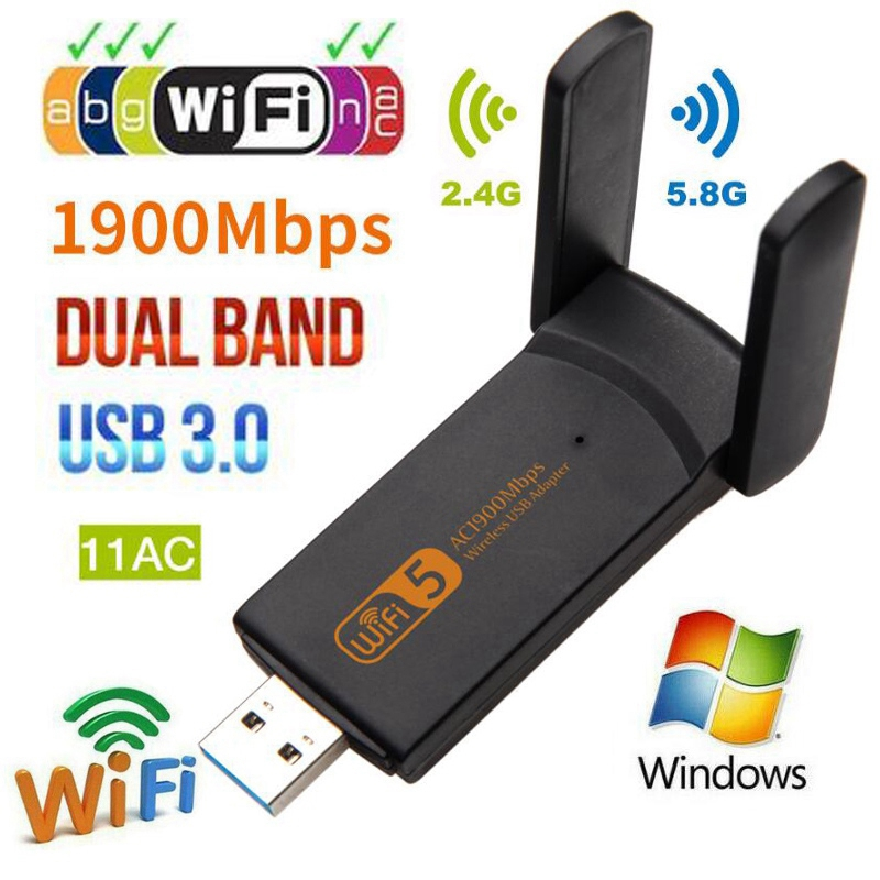 USB3.0 Wifi Adapter 1200Mbps 1900Mbps Dual Band 2.4Ghz + 5.8Ghz Wi-fi Dongle 802.11AC Network Card USB 2 Antennas Hi-Speed